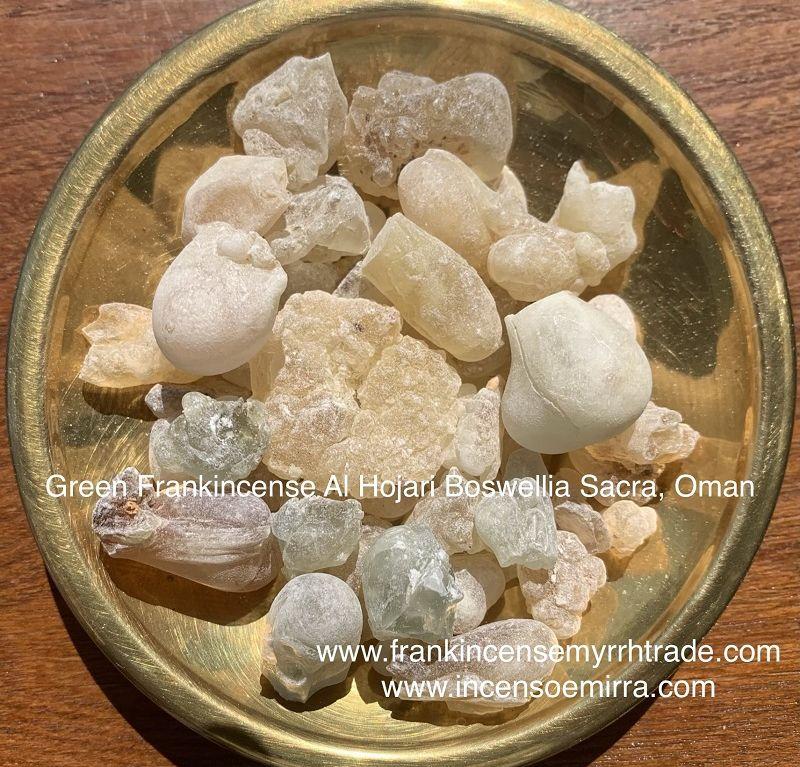 Vendita: Frankincense Verde Boswellia Sacra Oman in grani di resina, Incenso Royal Green alhojari Boswellia Sacra.
