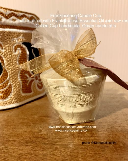 Incense cup candle Oman handcraft. Frankincense cup candle perfume from Sultanate of Oman artisan handcrafted. Frankincense candle artisan handcrafted from Sultanate of Oman.