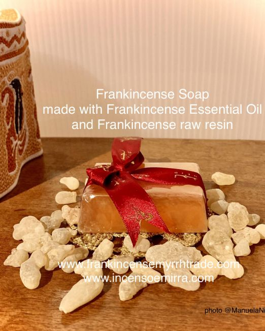 Incense Soap handmade with Frankincense Essential Oil and Frankincense raw resin. Aromatherapy with Frankincense Soap handmade in Oman.